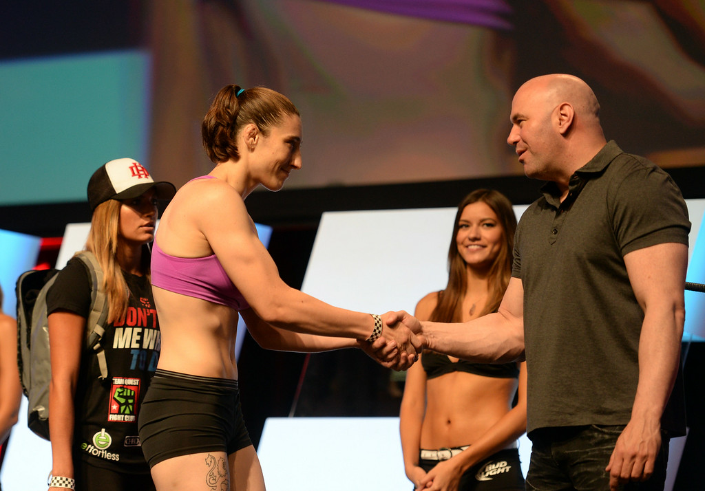 . Alexis Dufresne shakes hands with UFC president Dana White during weigh-ins for the TUF 19 Finale: Team Edgar vs Team Penn. (Photo by Hans Gutknecht/Los Angeles Daily News)