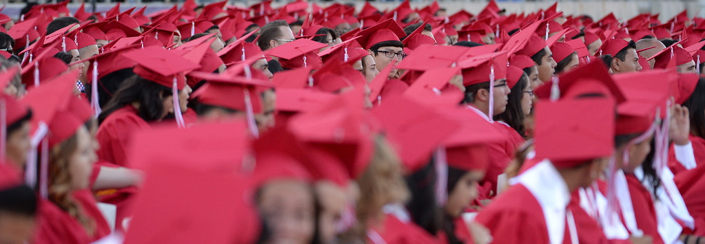 . Over 500 graduates listen to speeches during the Whittier High School graduation at Whittier College in Whittier, Calif., on Wednesday, June 4, 2014.  (Keith Birmingham/Pasadena Star-News)