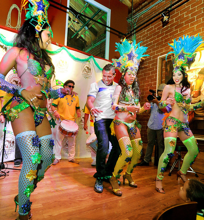 . Oya Brazil Samba Show at Gauchos Village as Brazilian fans showed up at Brazilian style restaurant in Glendale to party and watch live television broadcast  of World Cup action between Brazil and Croatia in the World Cup Thursday, June 12, 2014.(Photo by Walt Mancini/Pasadena Star-News)