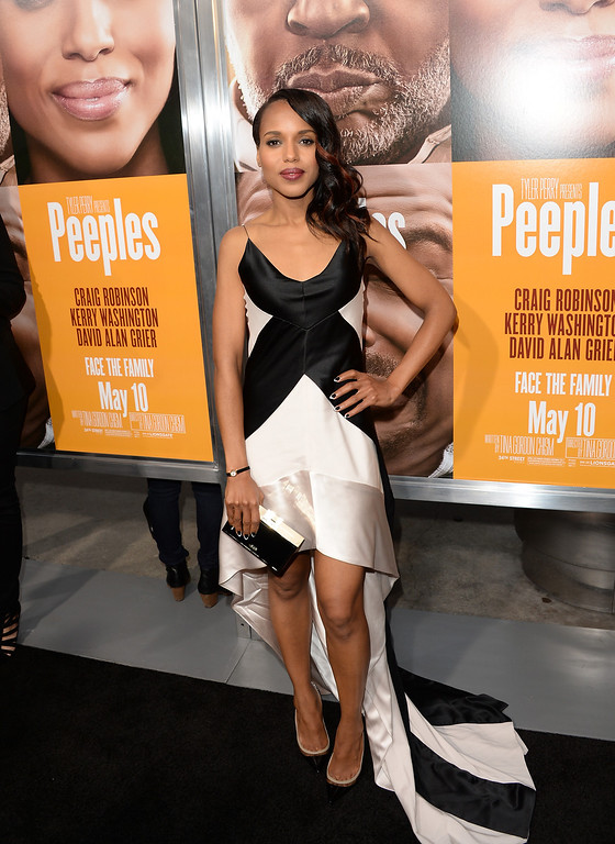 . HOLLYWOOD, CA - MAY 08:  Actress Kerry Washington arrives at the premiere of \'Peeples\' presented by Lionsgate Film and Tyler Perry at ArcLight Hollywood on May 8, 2013 in Hollywood, California.  (Photo by Jason Merritt/Getty Images)