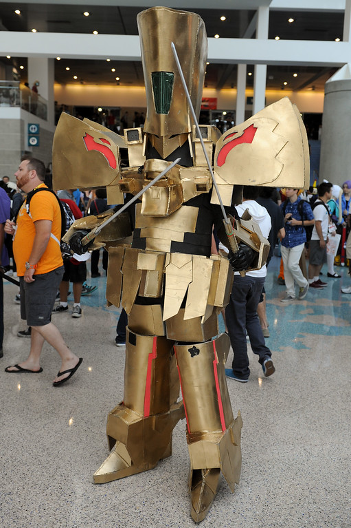 . The character Knight of Gold from Five Star Stories at the Anime Expo at the L.A. Convention Center, Saturday, July 6, 2013. (Michael Owen Baker/L.A. Daily News)