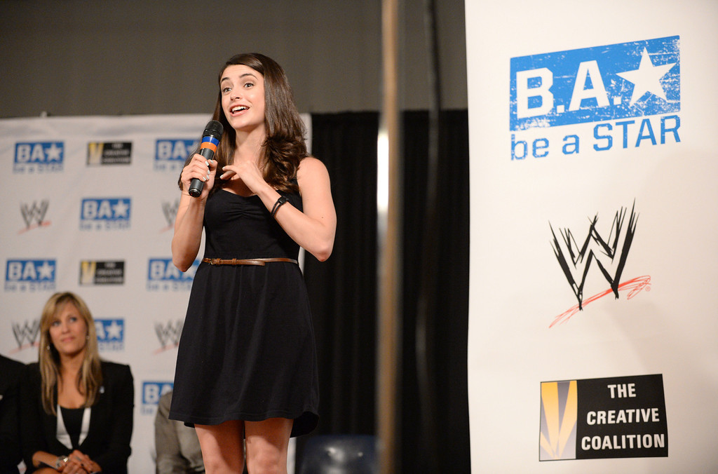. Actress Daniele Bobadilla (Anger Management) and WWE and The Creative Coalition launched the anti-bullying alliance, �Be a STAR� (Show Tolerance And Respect), to provide students with positive tools to prevent bullying in their schools and communities.  The mission of �Be a STAR� is to ensure a positive and equitable social environment for everyone regardless of age, race, religion or sexual orientation through education and awareness. Photo by Brad Graverson 8-15-13
