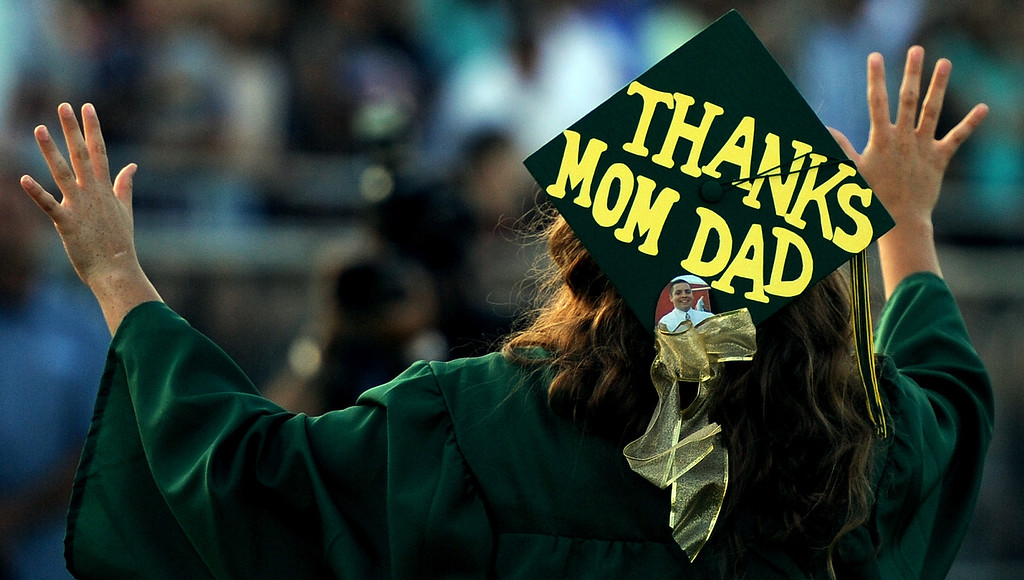 . One of many decorated caps during the South Hills High School commencement at Covina District Field on Wednesday, June 12, 2013 in Covina, Calif.