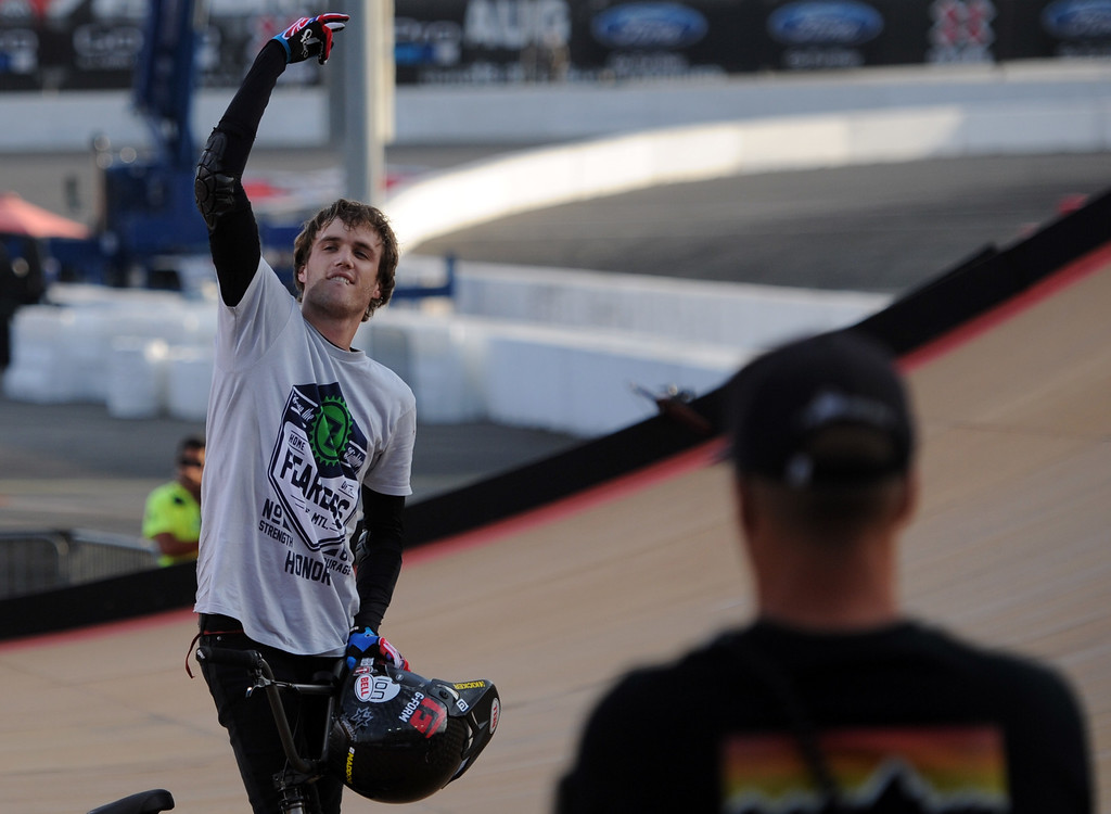 . Cotton Satterfield reacts to the crowd during the GoPro BMX Big Air Final at Irwindale Speedway on Friday, Aug. 2, 2013 in Irwindale, Calif. Morgan Wade won the gold medal.
