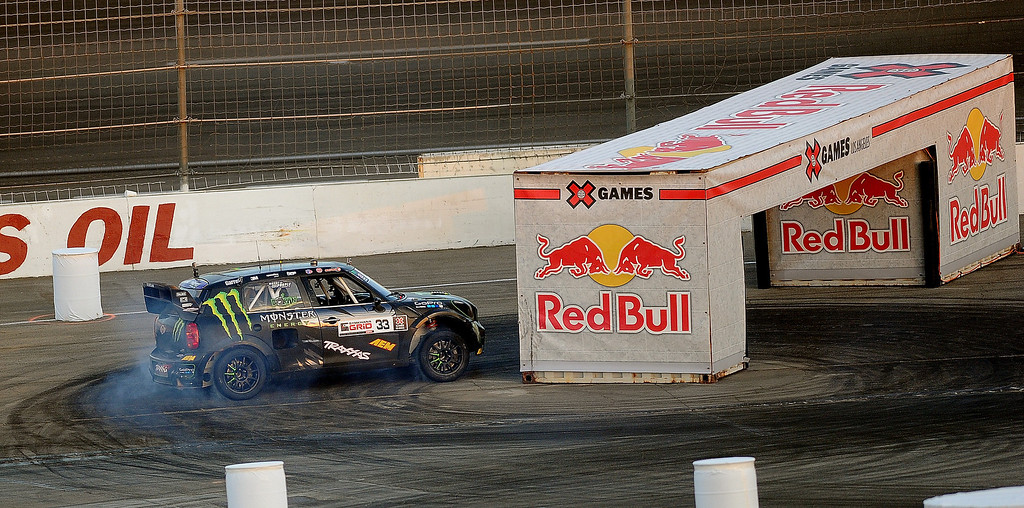 . Liam Doran races during the X Games Gymkhana Grid finals at Irwindale Speedway on Saturday, Aug. 3, 2013 in Irwindale, Calif.   (Keith Birmingham/Pasadena Star-News)