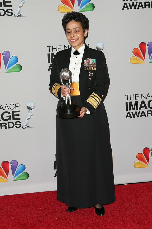 . United States Navy Vice Admiral Michelle Janine Howard, recipient of the Chairman\'s Award, poses in the press room during the 44th NAACP Image Awards at The Shrine Auditorium on February 1, 2013 in Los Angeles, California.  (Photo by Frederick M. Brown/Getty Images for NAACP Image Awards)