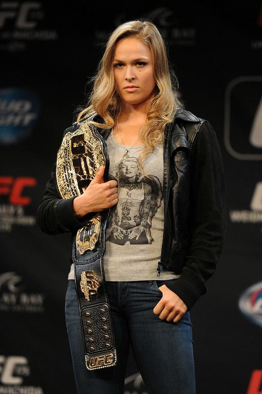. UFC Women\'s Bantamweight Champion Ronda Rousey during Ultimate Media Day at the Mandalay Bay Events Center Thursday, July 3, 2014. (Photo by Hans Gutknecht/Los Angeles Daily News)