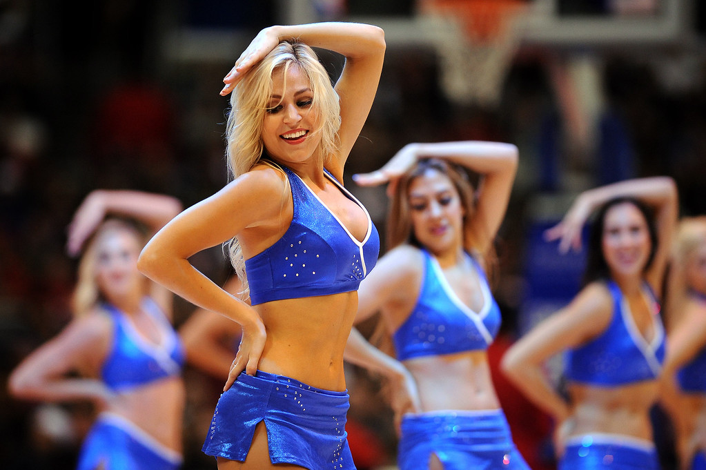 . The Los Angeles Clippers Spirit performs against the Memphis Grizzlies Monday, Nov. 18, 2013, in Los Angeles.  The Clippers lost the game 106-102.(Andy Holzman/Los Angeles Daily News)