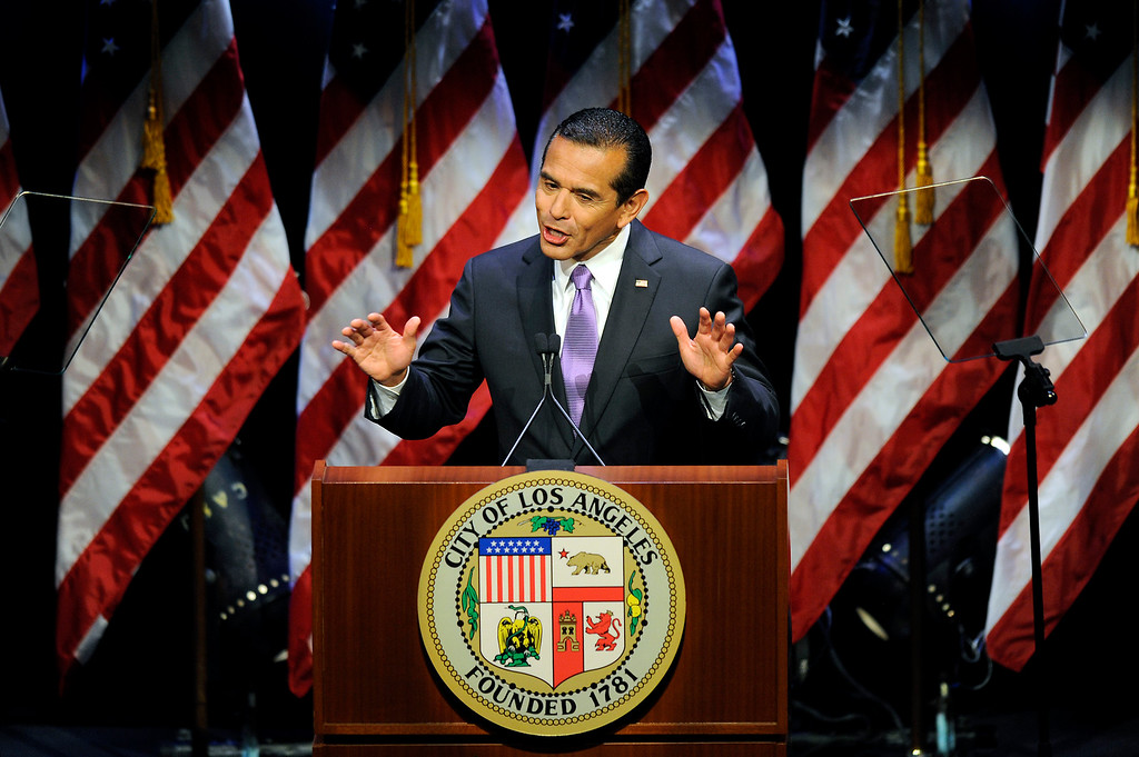 . Mayor Antonio Villaraigosa delivers his State of the City address at UCLA, Tuesday, April 9, 2013. (Michael Owen Baker/L.A. Daily News)