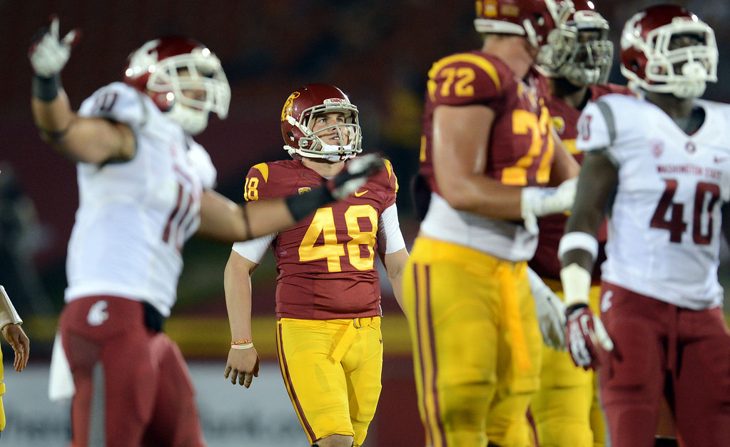 . USC\'s Andre Heidari #48 watches his field goal miss during their game  against Washington State at the Los Angeles Memorial Coliseum  Saturday, September 7, 2013. Washington State beat USC10-7. (Photo by Hans Gutknecht/Los Angeles Daily News)