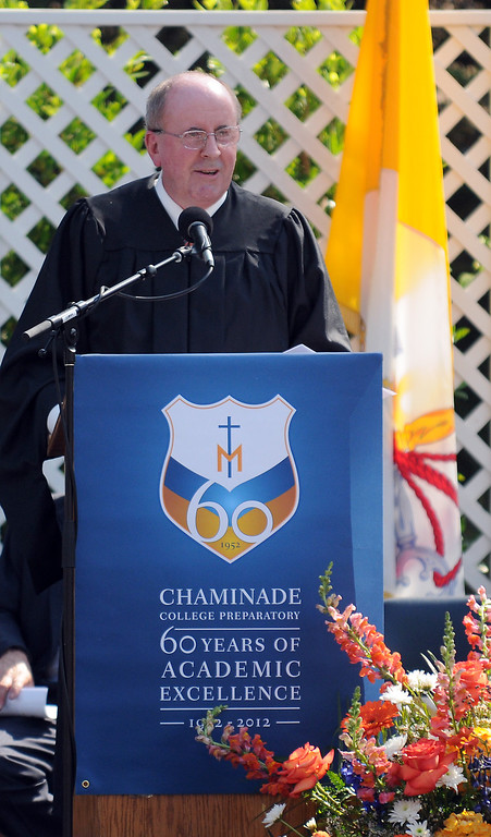 . School Principal, Brother Tom Fahy, speaks during the ceremony.  Chaminade College Preparatory High School, celebrating its 60th anniversary, graduated 337 students at the West Hills campus on Saturday, June 01, 2013.  (Dean Musgrove/Los Angeles Daily News)