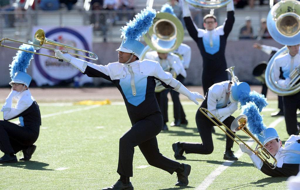 ". The Claudia Taylor ""Lady Bird\"" Johnson High School Marching Band from San Antonio, Texas performs during the 34th Annual Pasadena Tournament of Roses Bandfest at Pasadena City College on Monday December 30, 2013. (Staff Photo by Keith Durflinger/Pasadena Star-News)"