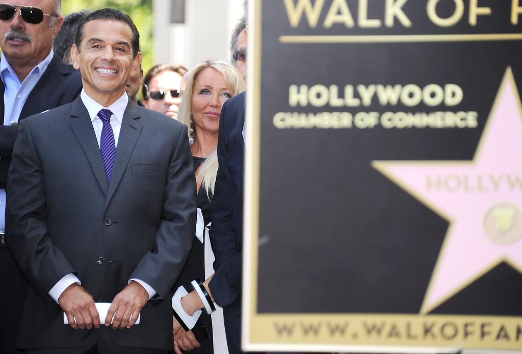. Los Angeles Mayor Antonio Villaraigosa attends a ceremony honoring Canadian musician, record producer, composer, singer and songwriter David Foster with a star on the Hollywood Walk of Fame, May 31, 2013 in Hollywood, California. (ROBYN BECK/AFP/Getty Images)