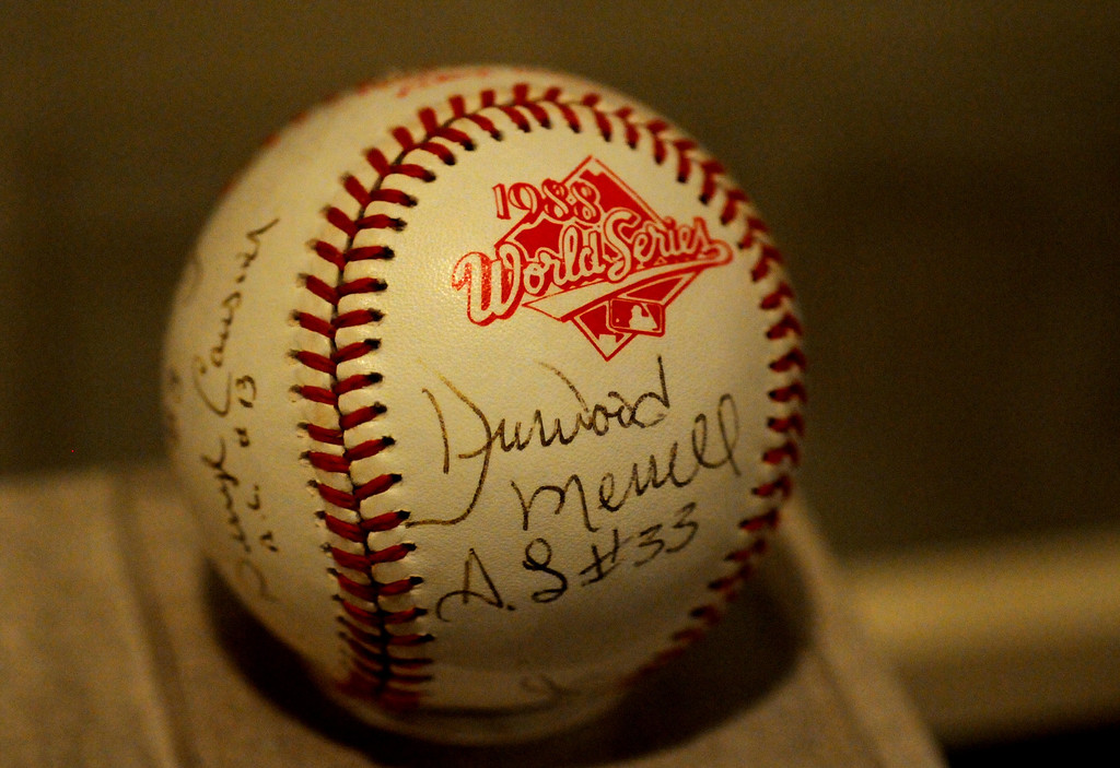 . This autographed baseball was given to President Reagan in the Rose Garden after the Dodgers won the 1988 World Series. The Exhibition opens April 4, 2014 at the Ronald Reagan Presidential Library and Museum.  Running through September 4, 2014, Baseball is a 12,000 square foot exhibition featuring over 700 artifacts, including some of the rarest, historic and iconic baseball memorabilia.  (Photo by Dean Musgrove/Staff Photographer)
