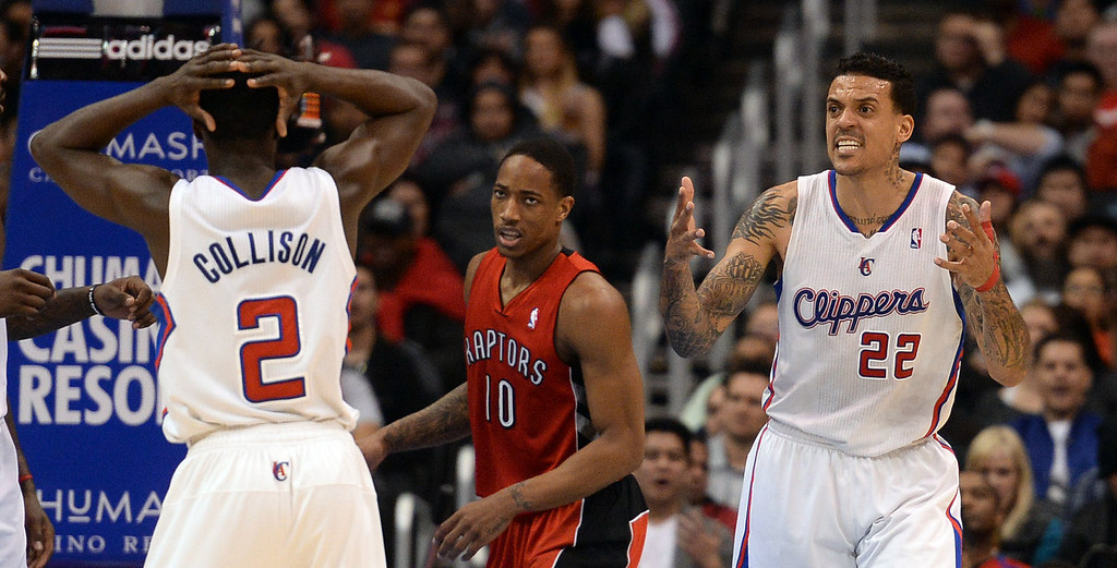 . The Clippers� Matt Barnes #22 reacts during their game against the Raptors at the Staples Center in Los Angeles Friday, February 7, 2014. (Photo by Hans Gutknecht/Los Angeles Daily News)