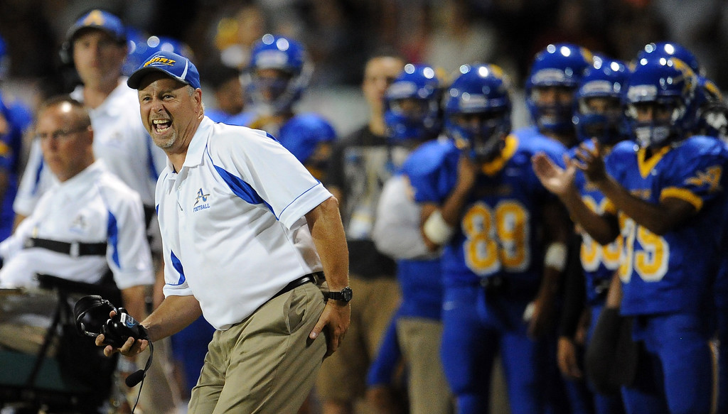 . Bishop Amat head coach Steve Hagerty reacts to the extra point as Bishop Amat defeats Santa Margarita 38-28 during a prep football game at Bishop Amat High School on Friday, Aug. 30, 2013 in La Puente, Calif. Bishop Amat won 38-28.   (Keith Birmingham/Pasadena Star-News)