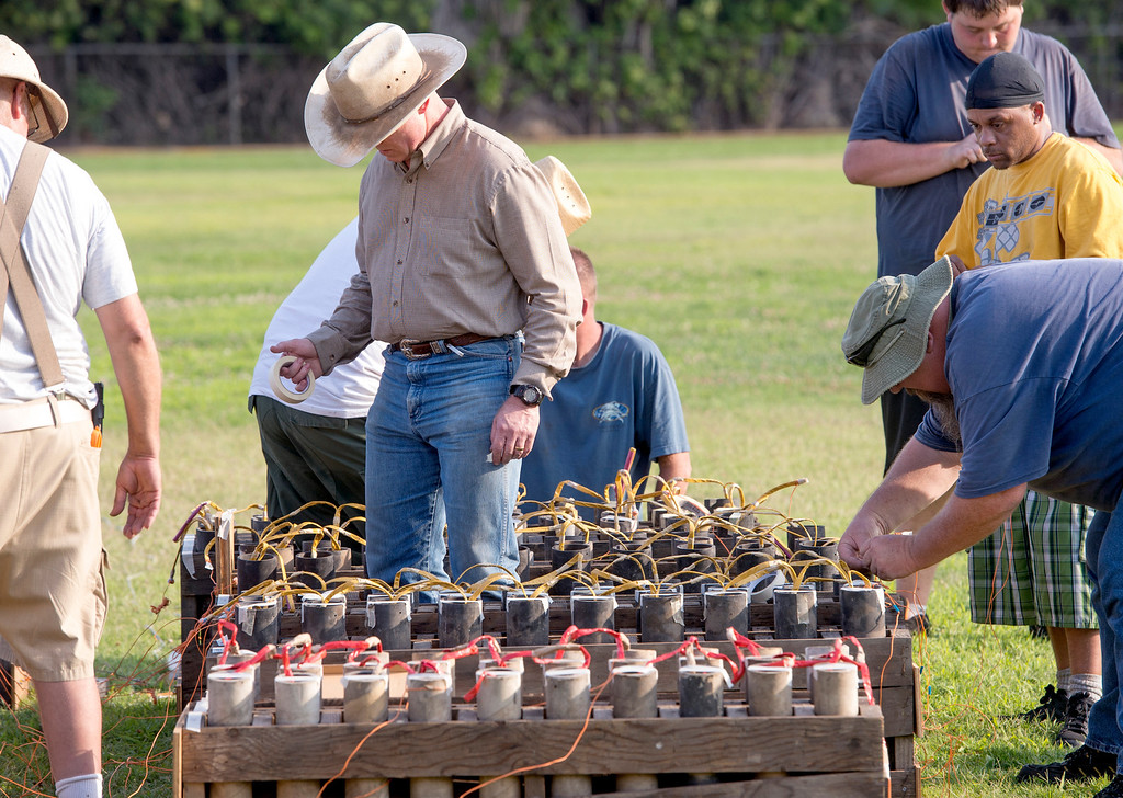 . American Fireworks company workers prepare for fireworks display at La Mirada\'s annual Independence Day Celebration at La Mirada Regional Park July 3, 2013.   (SGVN/Staff photo by Leo Jarzomb)
