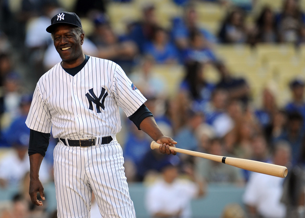 . Former New York Yankee and Los Angeles Dodgers Rickey henderson during the Old-Timers game prior to a baseball game between the Atlanta Braves and the Los Angeles Dodgers on Saturday, June 8, 2013 in Los Angeles.   (Keith Birmingham/Pasadena Star-News)
