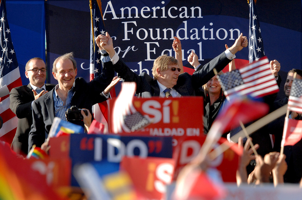 . Plaintiffs� lead co-counsels in the Prop 8 case, David Boies, front-left, and Ted Olson are cheered at a rally in West Hollywood to celebrate the U.S. Supreme Court\'s ruling that killed Prop 8, Wednesday, June 26, 2013. (Michael Owen Baker/L.A. Daily News)