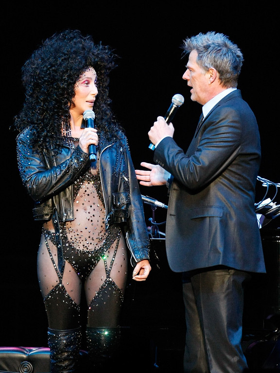 """. LAS VEGAS - MAY 09:  Singer Cher (L) and producer/composer David Foster appear during the \""""Hit Man: David Foster and Friends\"""" concert at the Mandalay Bay Events Center May 9, 2009 in Las Vegas, Nevada.  (Photo by Ethan Miller/Getty Images)"""