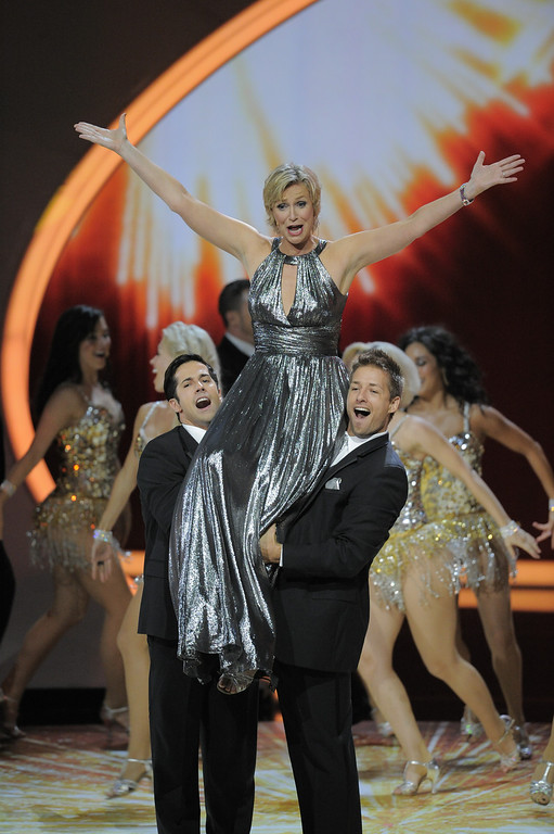 . Host Jane Lynch performs at the 63rd Primetime Emmy Awards on Sunday, Sept. 18, 2011 in Los Angeles. (AP Photo/Mark J. Terrill)