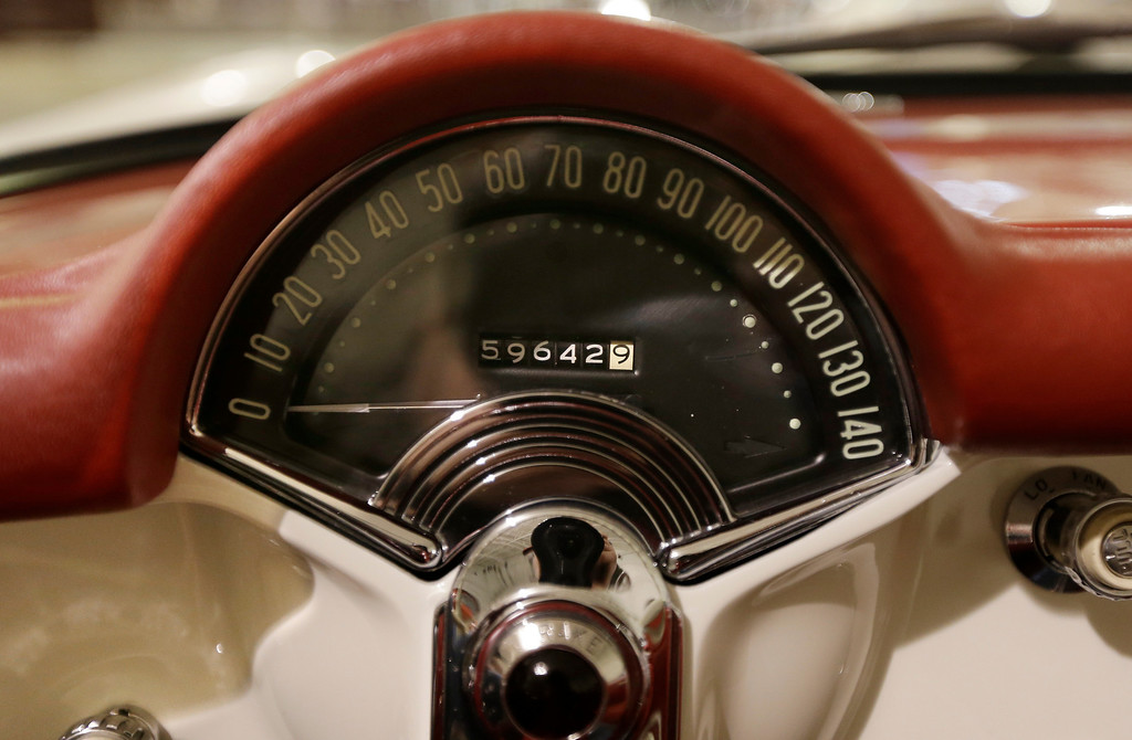 . In a Jan. 22, 2013 photo, the speedometer of a 1953 Corvette is seen at the GM Heritage Center in Sterling Heights, Mich. Although current cars with high-horsepower engines can come close to the top speedometer speeds, most are limited by engine control computers. That�s because the tires can overheat and fail at higher speeds. (AP Photo/Carlos Osorio)