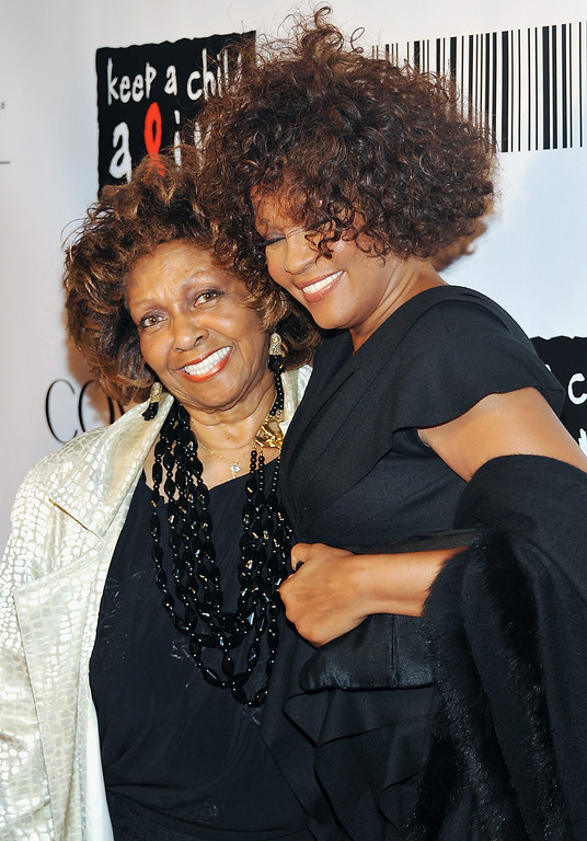 """. In this Sept. 30, 2010 file photo, singers Cissy Houston, left, and her daughter Whitney Houston arrive at the \""""Keep A Child Alive Black Ball\"""" at the Hammerstein Ballroom in New York.  (AP Photo/Evan Agostini, file)"""