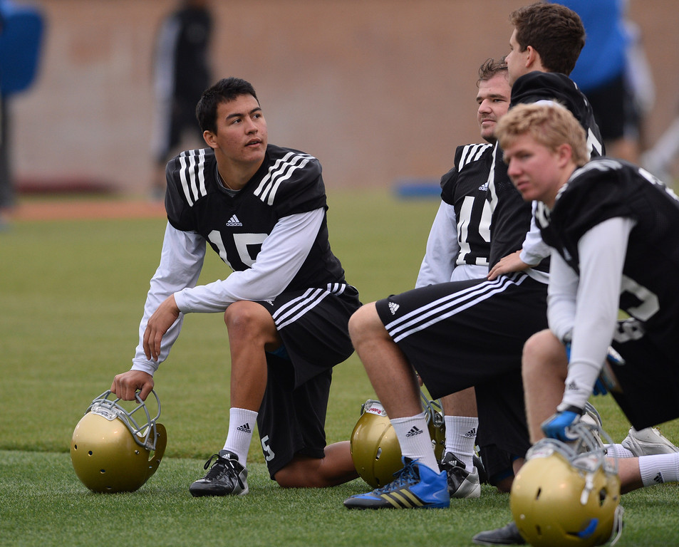 . UCLA football spring practice at Spaulding Field.  PK #15 Ka\'imi Fairbairn. (Apr.16, 2014 Photo by Brad Graverson/The Daily Breeze)