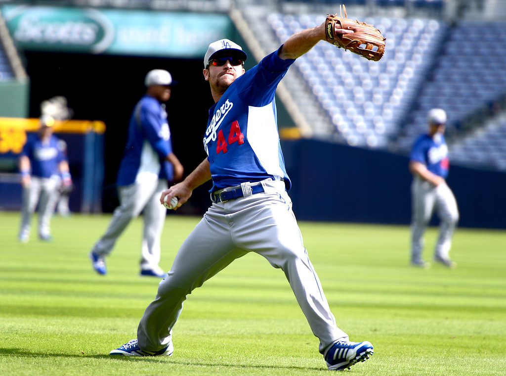 . Los Angeles\' Dodgers\' Chris Withrow works out Wednesday, October 2, 2013 as they get ready for the first playoff game against the Atlanta Braves Thursday at Turner Field in Atlanta, Georgia. (Photo by Sarah Reingewirtz/Pasadena Star- News)