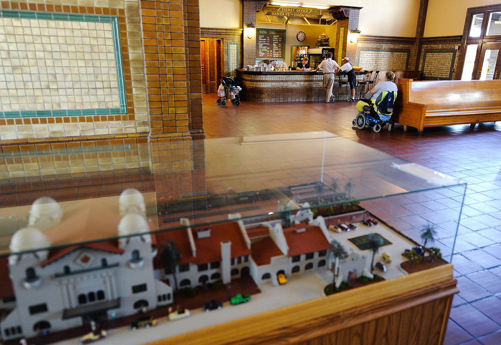 . Iron Horse Cafe is surrounded by 1918 era interior at the Santa Fe Railroad Depot in San Bernardino on Wednesday, Sept. 4, 2013. The Iron Horse Cafe offers salads, sandwiches and a daily assortment of pastries. (Photo by Rachel Luna / San Bernardino Sun)