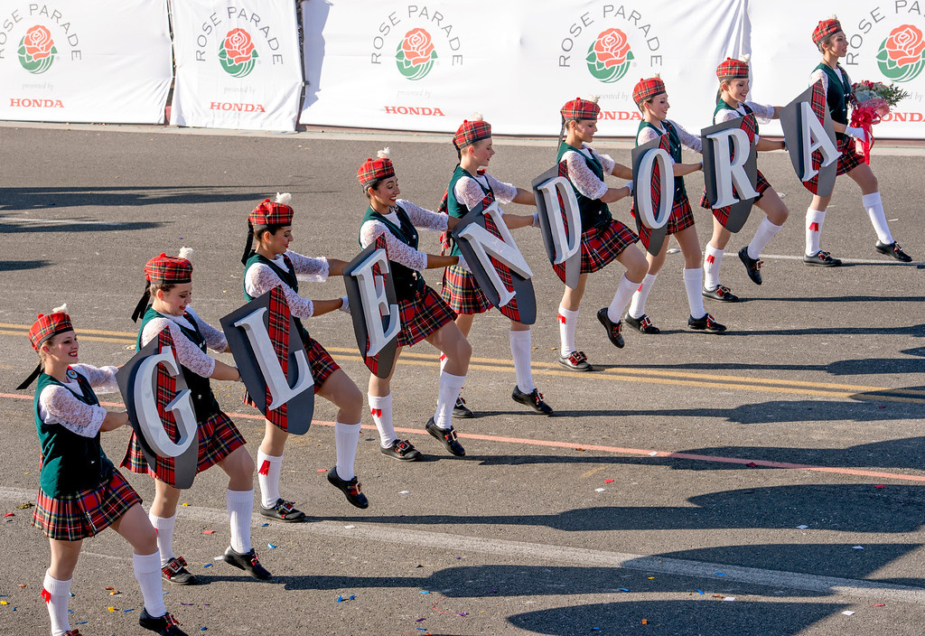 . Glendora High Tartan band during 2014 Rose Parade in Pasadena, Calif. on January 1, 2014. (Staff photo by Leo Jarzomb/ Pasadena Star-News)