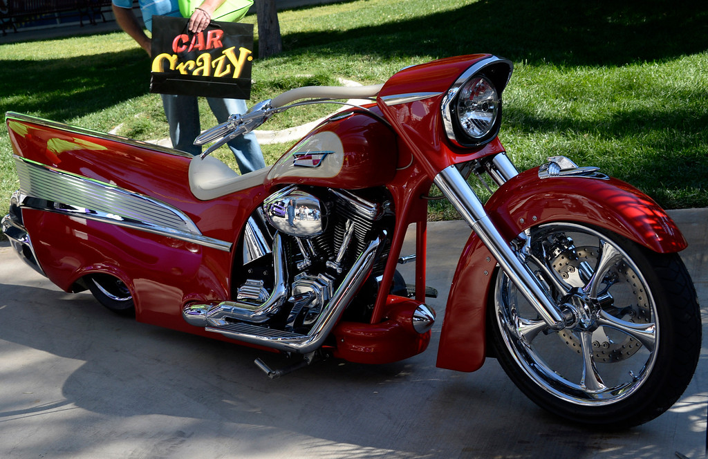 . Nov 5,2013 Las Vegas NV. USA.  A  2008Harley Davidson custom into a 1957 Chevy look on display by LUPO Racing during the first day of the 2013 SEMA auto show.