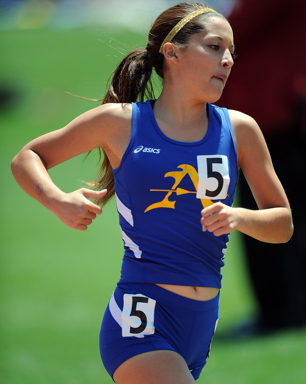 . Bishop Amat\'s Emily Hubert in the 1600 meters race during the CIF-SS track & Field championship finals in Hilmer Stadium on the campus of Mt. San Antonio College on Saturday, May 18, 2013 in Walnut, Calif.  (Keith Birmingham Pasadena Star-News)