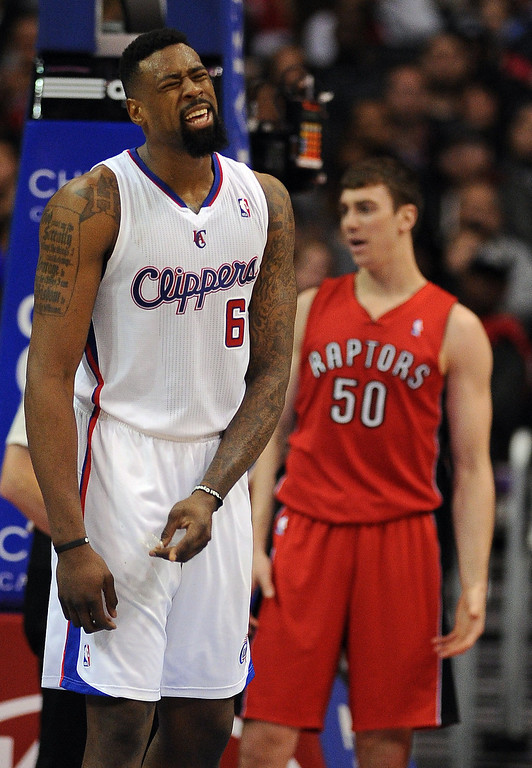 . The Clippers� DeAndre Jordan #6 reacts during their game against the Raptors at the Staples Center in Los Angeles Friday, February 7, 2014. (Photo by Hans Gutknecht/Los Angeles Daily News)