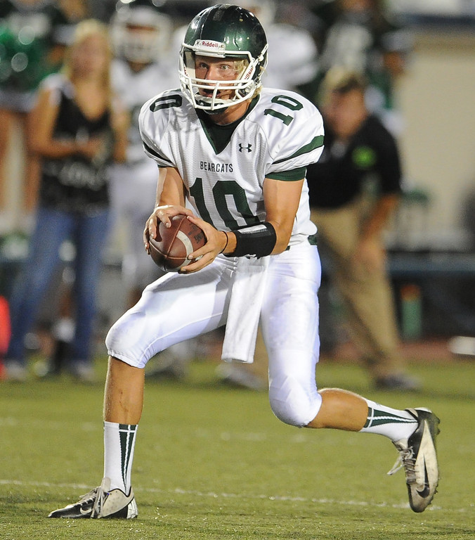 . Bonita quarterback Tanner Diebold (10) against San Dimas in the first half of a prep football game at Citrus College on Thursday, Aug. 29, 2013 in Glendora, Calif.   (Keith Birmingham/Pasadena Star-News)