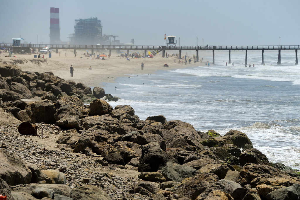 . Sand has washed away from a portion of Hueneme Beach in Port Hueneme, Monday, July 15, 2013. (Michael Owen Baker/L.A. Daily News)