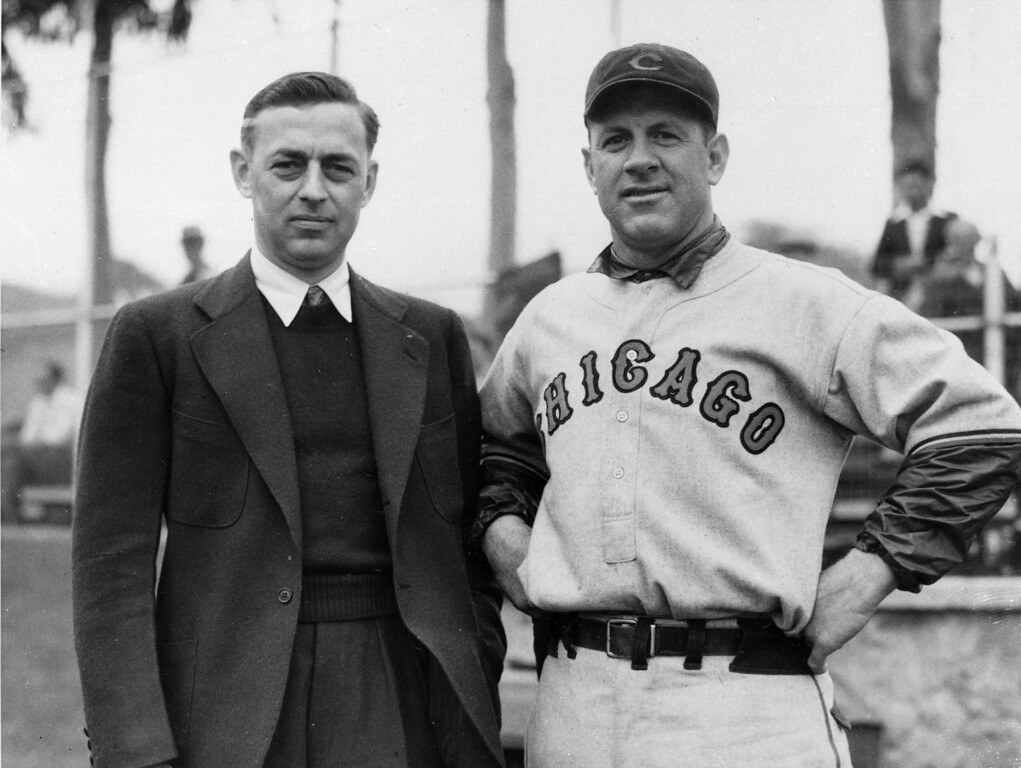 . Philip K. Wrigley, left, poses with Charles Grimm at the Chicago Cubs training camp on Catalina Island, Calif., In this 1934 file photo. Grimm was manager and first baseman for the team at the time. Wrigley, 82, died Tuesday April 12, 1977 in Elkhorn, Wisconsin.(AP Photo)