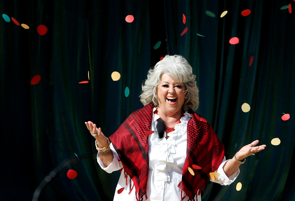 . Under confetti celebrity chef Paula Deen is introduced as the 2011 Pasadena Tournament of Roses Grand Marshal Tuesday, October 26, 2010 at the Tournament House in Pasadena. (Photo By Sarah Reingewirtz/Pasadena Star News)