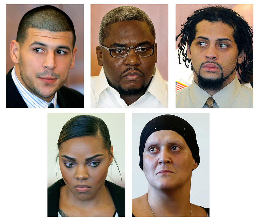 . FILE - This panel of file photos shows some of those who are connected to the murder trial of former New England Patriots tight end Aaron Hernandez; top row from left: Aaron Hernandez; and co-defendants to be tried separately Ernest Wallace and Carlos Ortiz. Bottom row, from left; Shayanna Jenkins, Hernandez�s fiancee charged with perjury;  Tanya Singleton, Hernandez\'s cousin, charged with conspiracy to commit accessory after the fact. Jury selection begins for Hernandez\'s murder trial on Friday, Jan. 9, 2015, in Fall River, Mass. (AP Photo/File)
