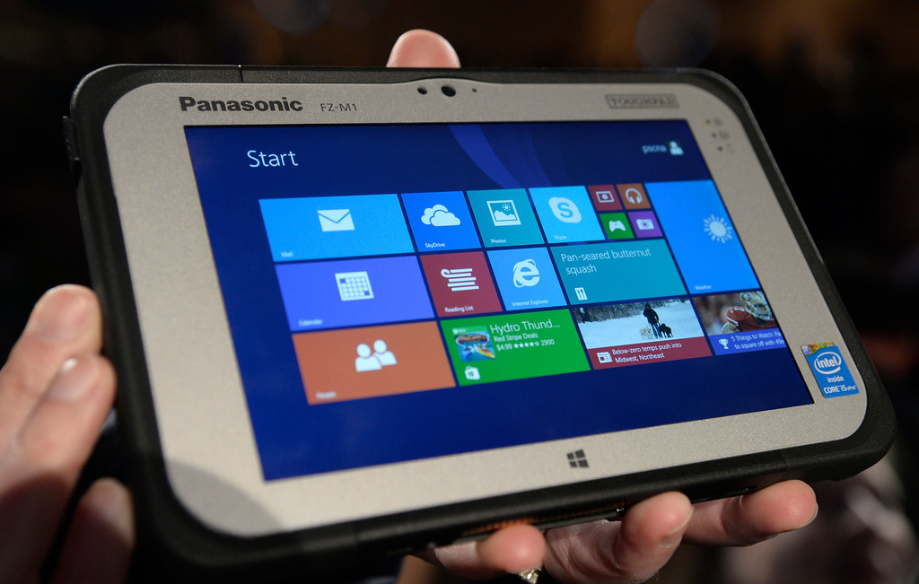 . Jan 6,2014.  Las Vegas NV. USA. Panasonic  shows during a press conference the new 7 inch Toughpad FZ-M1 at the 2014 CES media day show Monday. The 2014 CES show starts this Tuesday and runs till Friday with a estimated crowd of 150,000 to attend the show.. Photo by Gene Blevins/LA Dailynews