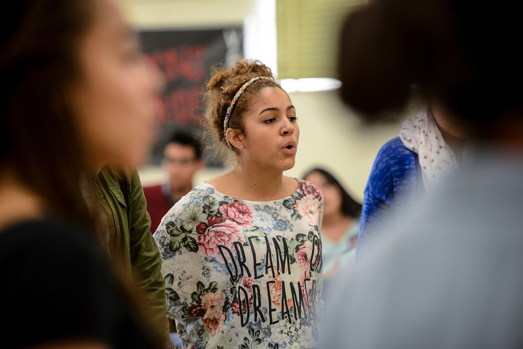 . Jennifer Elrod sings with the Verdugo Hills High School Chorus after school on Tuesday, February 26, 2014.  The group will be one of the LAUSD groups to perform at the Arts Fest at Grand Central Park in Los Angeles on March 15th. (Photo by David Crane/Los Angeles Daily News)