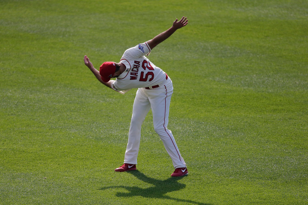 . St. Louis Cardinals\' Michael Wacha warms up before Game 2 of the National League baseball championship series against the Los Angeles Dodgers Saturday, Oct. 12, 2013, in St. Louis. (AP Photo/Chris Carlson)