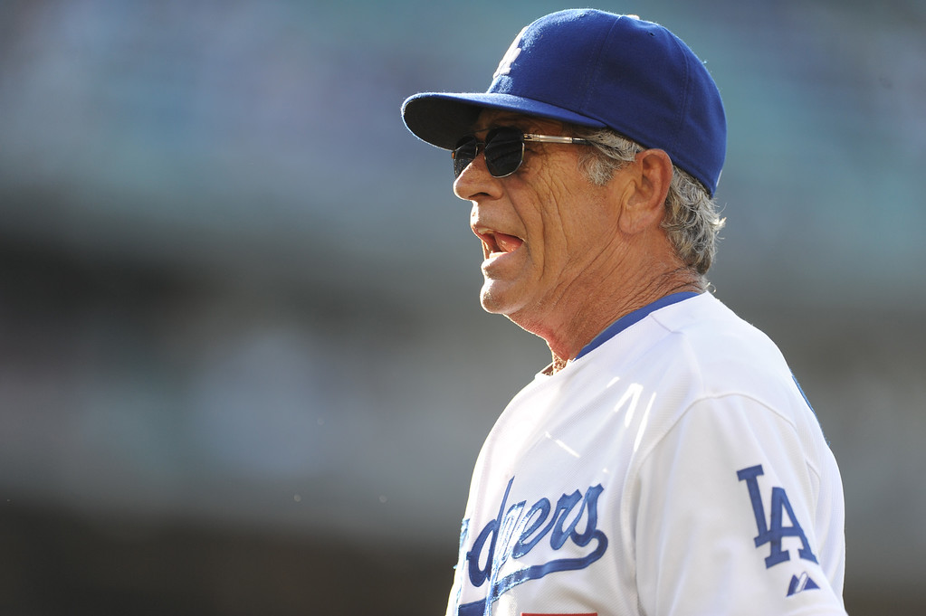 . Former Los Angeles Dodgers Steve Yeager during the Old-Timers game prior to a baseball game between the Atlanta Braves and the Los Angeles Dodgers on Saturday, June 8, 2013 in Los Angeles.   (Keith Birmingham/Pasadena Star-News)