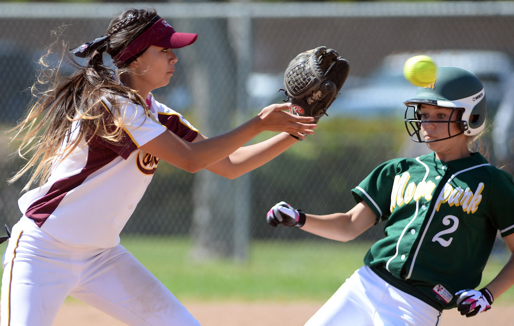 . Moorpark High School\'s Camdyn Lee #2 is forced out at 2nd base as Simi Valley High School\'s Danielle Chatman #3 makes the catch  during their girls softball game against at  Rancho Santa Susana Community Park in Simi Valley Tuesday April 15, 2014. (Photo by Hans Gutknecht/Los Angeles Daily News)