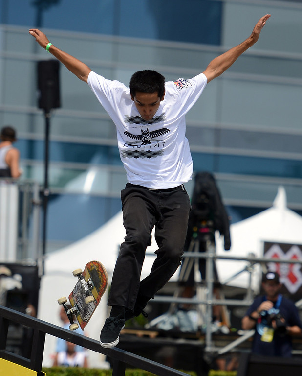 . Tyson Bowerbank during the  X Games Los Angeles Red Bull Phenom Skateboard Street at LA Live Friday, August 2, 2013. (Hans Gutknecht/Los Angeles Daily News)