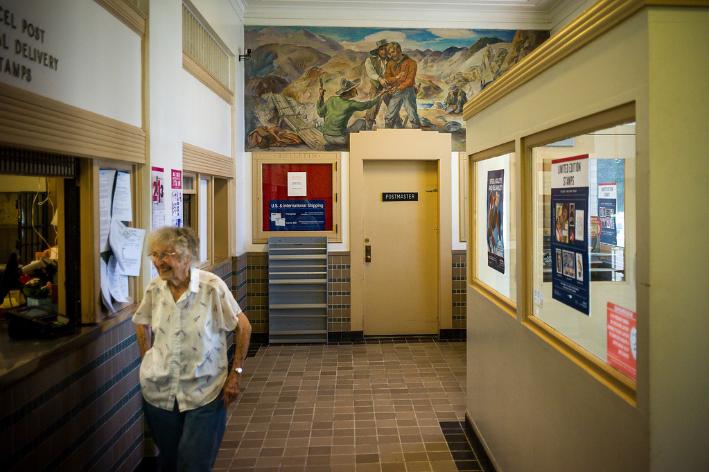 . A mural painted in 1940 overlooks the post office in Lovelock, Nevada.  The small town has been put on the map since Simpson was locked up at the Nevada Prison near town.    (Photo by David Crane/Los Angeles Daily News.)