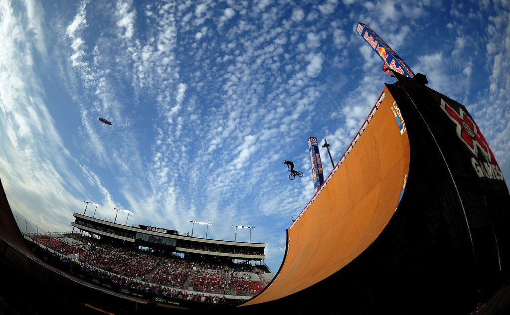 . Vince Byron finished second winning the silver medal during the GoPro BMX Big Air Final at Irwindale Speedway on Friday, Aug. 2, 2013 in Irwindale, Calif. Morgan Wade won the gold medal.