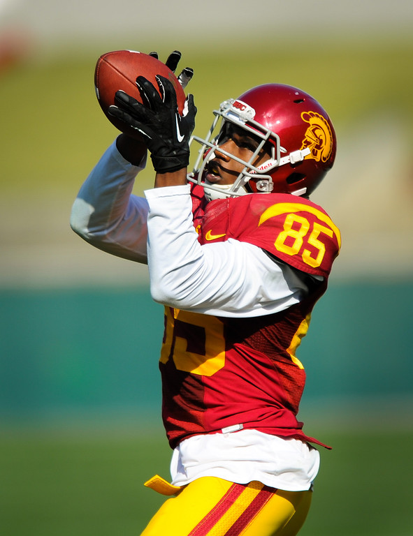 . USC WR Victor Blackwell is wide open on the sideline at the spring game. (Photo by Michael Owen Baker/L.A. Daily News)