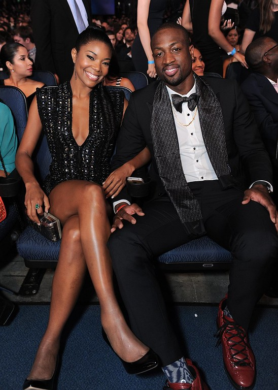 . Gabrielle Union, left, and Dwyane Wade pose in the audience at the ESPY Awards on Wednesday, July 17, 2013, at Nokia Theater in Los Angeles. (Photo by Jordan Strauss/Invision/AP)