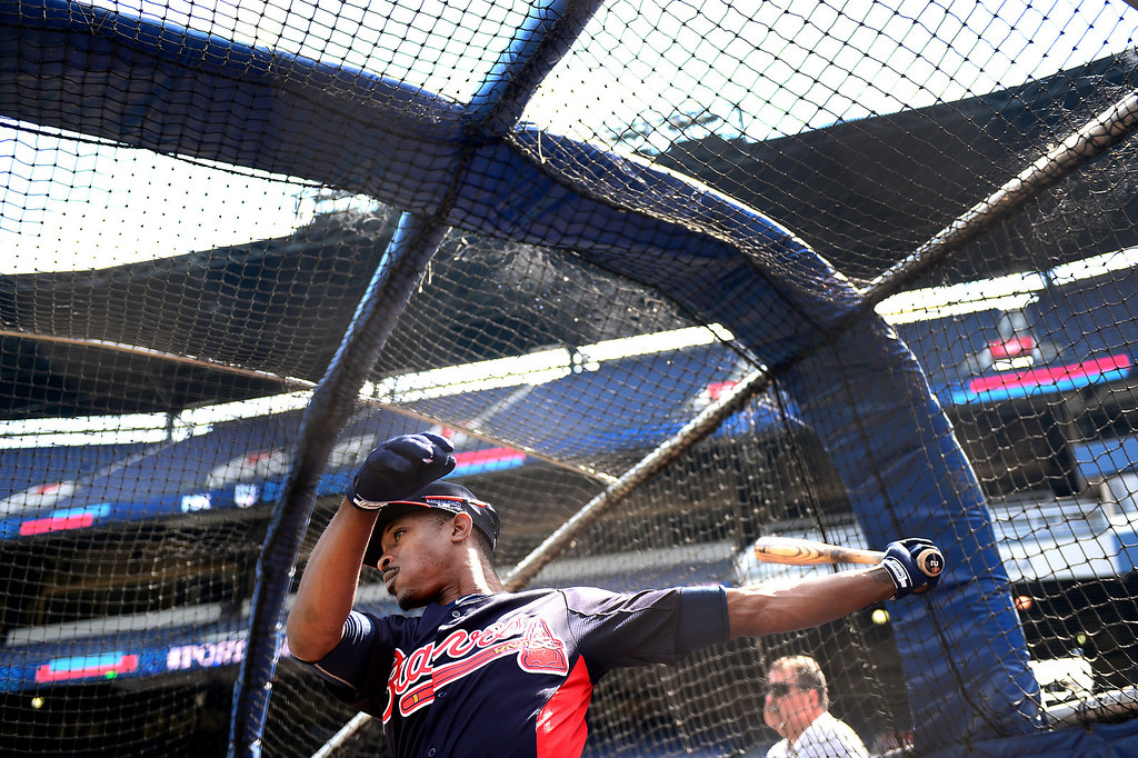 . The Atlanta Braves workout Wednesday, October 2, 2013 as they get ready for the first playoff game Thursday at Turner Field in Atlanta, Georgia. (Photo by Sarah Reingewirtz/Pasadena Star- News)